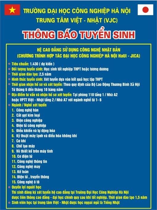 TT Việt Nhật thông báo tuyển sinh hệ cao đẳng năm 2018